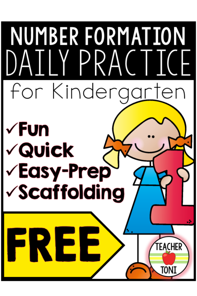 number formation, routine, math, kindergarten, free activity, free math activity, free math resource, primary, math in kindergarten, math in primary, Teacher Toni, math song, numeral song, scaffold number formation