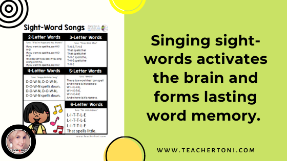 free printable sight word songs strategies to help students singing sight words easy songs for the classroom kindergarten first grade second grade teachers