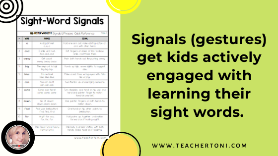 sight word motions signals hand gestures free download list kindergarten first grade second grade movement how to teach sight words