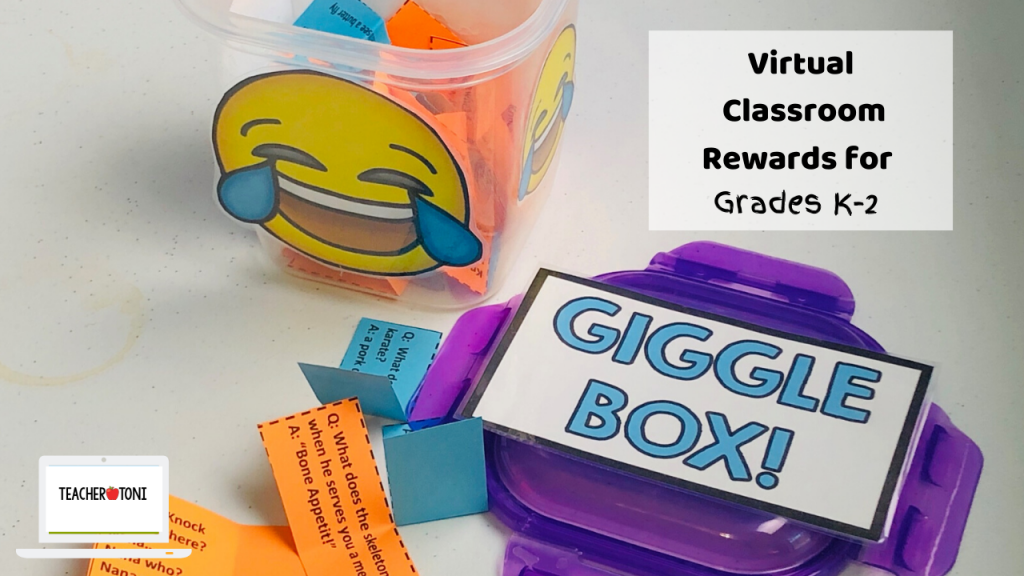giggle box class cheers choice board free virtual classroom rewards distant learning incentives engagement Kindergarten First Grade Second Grade